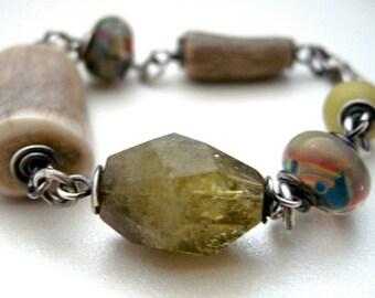 elk antler bracelet, antler jewelry, gemstone bracelet, glass bead bracelet