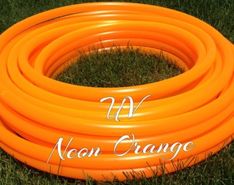"UV Neon Orange Roll of 3/4"" or 5/8"" Colored PolyPro hula hoop tubing - Make your own hoops!  50 ft or 100 ft"