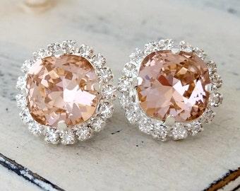 Blush earrings,blush pink silver stud earrings,blush pink bridal earrings,blush pink bridesmaid earring,Swarovski earring,blush pink wedding