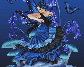 Shades of Blue Fairy Dancer Mushrooms Bluebells Butterflies Frogs - Limited Edition Print