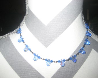 Bellagio Sky Blue Crystals Choker Necklace
