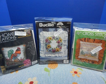 Morning Rooster, Pansy Wreath, House Sampler Pillow Kits, Sold Individually NIP,