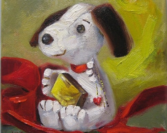 "Dog art, Beagle original oil painting, 6x6"" on canvas"