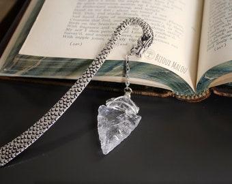 Clear Quartz Arrowhead Dragon Bookmark Mystery Bookmark Fantasy Bookmark for Books Book of Shadows Crystal Wicca Goth Dragon Gift