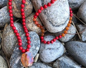 Orange and Red Gemstone and Coral Mala
