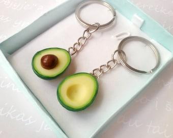 Avocado friendship keychain, miniature food jewelry, food keychain, polymer clay jewelry, kawaii jewelry, vegan jewelry, best friend gift