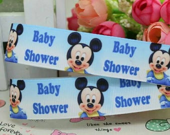 226 - Ribbon baby shower mickey - grosgrain - 22 mm sold by 50 CM - Baby shower mickey ribbon
