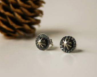 Rustic Handmade Sterling Silver Stud Earrings - Nickel Free Unisex Style