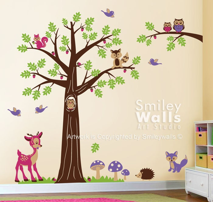 nursery wall decal woodland wall decal forest animals wall. Black Bedroom Furniture Sets. Home Design Ideas