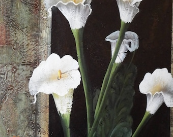 """Oil on Canvas Flowers Painting  Signed """"R Wilcox"""""""