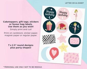 Sleepover cupcake toppers, Printable Sleepover labels, Slumber party cupcake toppers, Slumber party labels Pyjama party labels Pajama party