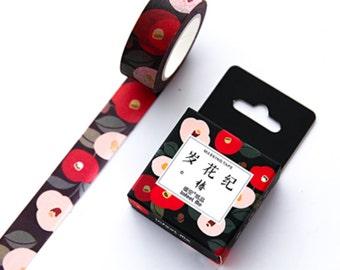 2 pcs 15×7 mm Red Camellia floral Washi Tape , kawaii cute Washi tape ,  filofax Masking Tape , Planner Washi Tape Stiker (212-57)