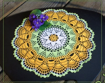 "Color Crochet Doily 15.35"",lace doily handmade,color doily,Yellow + White + Light Green"