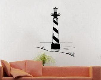 Lighthouse Wall Decal - Lighthouse with Sand Dunes Vinyl Wall Decal - Beach Wall Decal - Beach Decor - Nautical Decor 22099