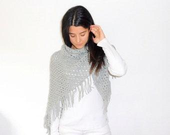 Crochet fringed shawl