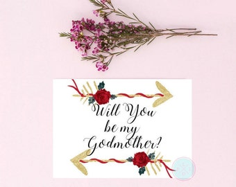 DIGITAL INVITE Will You Be My Godmother Godmother Gift God Parent Gift You Be My Godmother Godparent Gift God Father Gift  Godparent Print