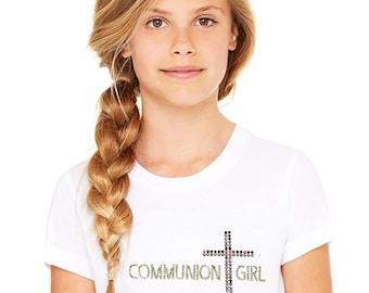 Girl's First Holy Communion T shirt, communion gifts, girls communion, first communion tee, Communion, t-shirt with cross, rhinestone cross