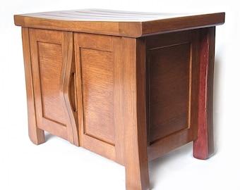 Elf, petit banc meuble chêne recyclé réservoirs de fermentation du vin, rangement chaussure