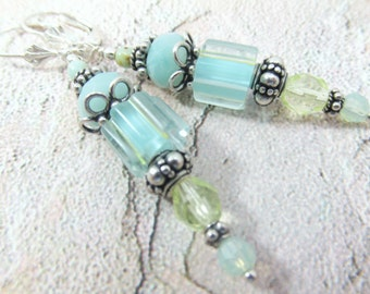 Aqua and Green Cane Glass Lampwork Beads with faceted Amazonite gemstones and Czech Glass Beads on all sterling silver