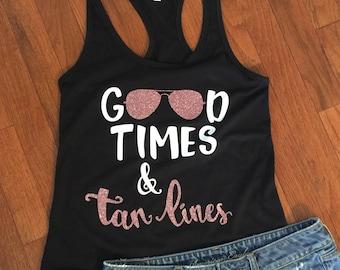 Good Times and Tan Lines, Tank top, Black Racerback