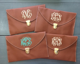 Monogrammed Clutch with Chain