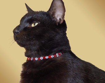 The Original Mr. T -  cat collar, red and clear Swarovski cat collar, cat necklace, pet jewelry, pet accessories, beaded cat collar, collar