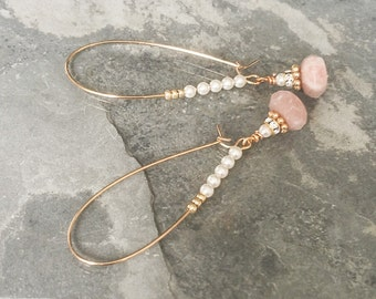 Hoop Earrings, Gold Hoop Earrings, Gold Moonstone and Pearl Hoop Earrings, Moonstone Hoop Earrings, Pearl Hoop Earrings, Hoop Earrings Gold
