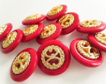 Vintage Buttons,Round Red Buttons with Fancy Gold Center, Plastic Buttons, Shank backing, Button jewelry, sewing buttons, sew on buttons