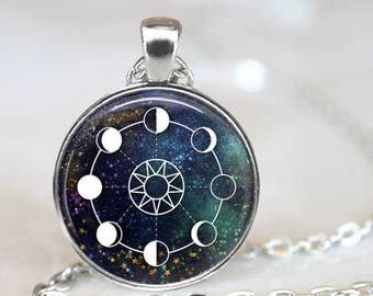Space Stars Moon Phase Pendant Necklace with Chain and organza gift bag Birthday Christmas Present Gift