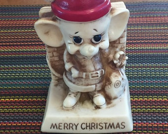 Russ Berrie & Wallace Berrie 1969 Christmas Mouse Santa Fireplace Merry Toys Figurine Decoration