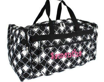 Monogram Black White Quatrafoil Duffle Bag