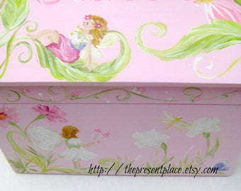 large,trunk,keepsake box,light pink,fairies,butterflies,personalized, baby's memory box, children's boxes,kid's keepsake box, girls gift