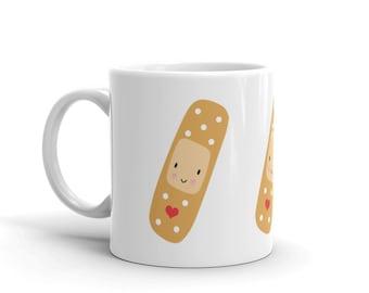 Plaster Mug (nurse gift, gifts for nurse, doctor, kawaii, cute, heart, plaster, heal, get well soon, coffee, tea, hospital, health
