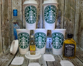 "Starbucks Coffee Cup ""This Might Be Vodka"" or Wine, Beer, Rum, Whiskey (Genuine Personalized Starbucks Cup, Mug, Tumbler) [fun gift idea]"