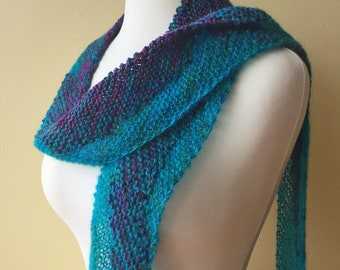 Reef Scarf, Blue Aqua Purple Scarf, Hand Knit Scarf, Wearable Art, Unique Gifts, Luxury Scarves, Women's Scarves, Handmade Gift