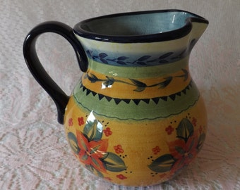Tabletops Gallery Round 92oz Pitcher (Cesarita Pattern) Handcrafted  Stoneware