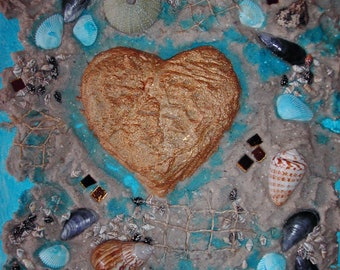 """Collage """"sea noise"""" gift to the wedding for Valentine's Day anniversary to mothers day to Easter painting art heart sand shell"""