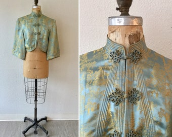 Pagoda 50s Chinoiserie jacket | Vintage gold and blue silk jacket | 1950s  asian inspired evening jacket