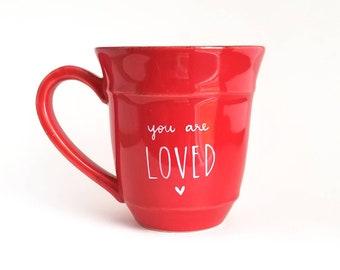 Liefde mok | Verjaardag mok | Grote mok | Upcycled mok | Rode mok | Citeer mok | Cadeau idee | Keramische koffie thee mok | Vaderdag cadeau