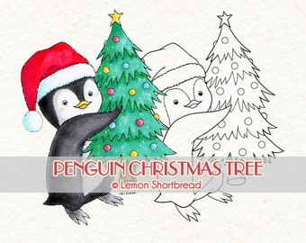 Digital Stamp Christmas Tree Penguin, Digi Download, Winter Holiday, Merry Animal, Scrapbooking Supplies, Clip Art, Coloring Page, Graphic