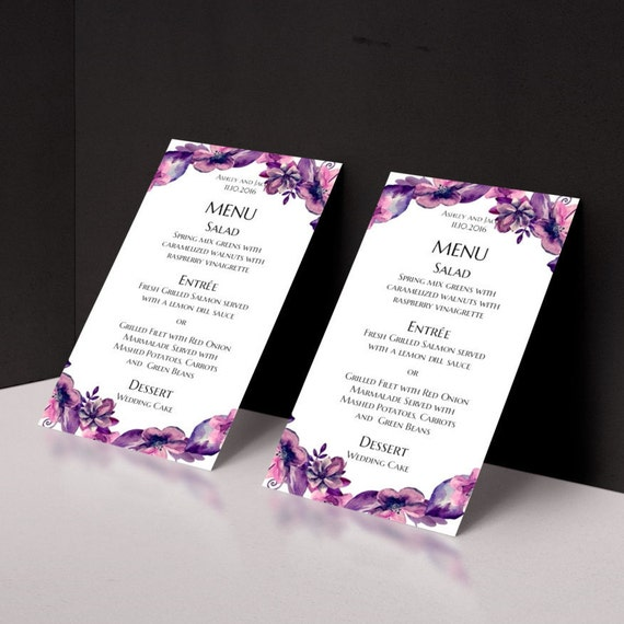Hochzeit Menü druckbare Boho Menü Karte lila Hochzeit Menü