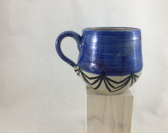 Watercolor Jewel Toned Ceramic Mug / Teacup / Hand-painted / Purple / Wheel Thrown Mug - READY TO SHIP