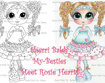 INSTANT DOWNLOAD Digital Digi Stamps Big Eye Big Head Dolls Messy Bessy Rosie Hearts IMG976 My Besties By Sherri Baldy