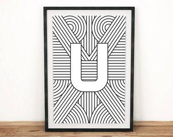 "Digital Download   Letter Print ""U""   Initial Poster   Letter Print   Alphabet Print   Monogram Initial Print   Wall Art   Quote Art Print"