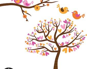 Love Birds in Orange, Yellow, Pink, and Brown - Digital Clip Art