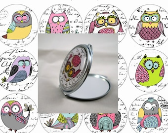 Double Pocket mirror, custom owls to choose 62mm