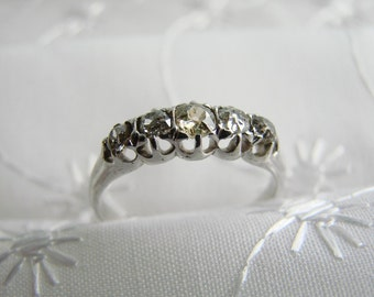 Antique Yellow Gold DIAMOND WEDDING RING -- 1890s Wedding Ring, Unique like the Bride, For her Special Day