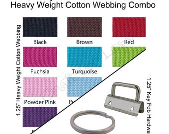 15 Yards Cotton Webbing Heavy Weight / 35 Key Fob Hardware Combo - 1.25 Inch - Plus Instructions - SEE COUPON