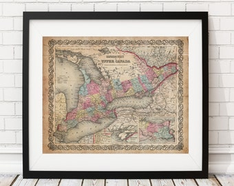 Upper Canada Map Print, Vintage Map Art, Antique Map, Office Wall Art, Map of Canada, Old Maps, Ontario Map, Map of Ontario, Canadian Gifts