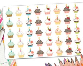 40 Birthday Planner Stickers | Cupcake Stickers with Candle | Birthday Stickers | Cupcake Birthday Stickers | Fits Erin Condren Planners